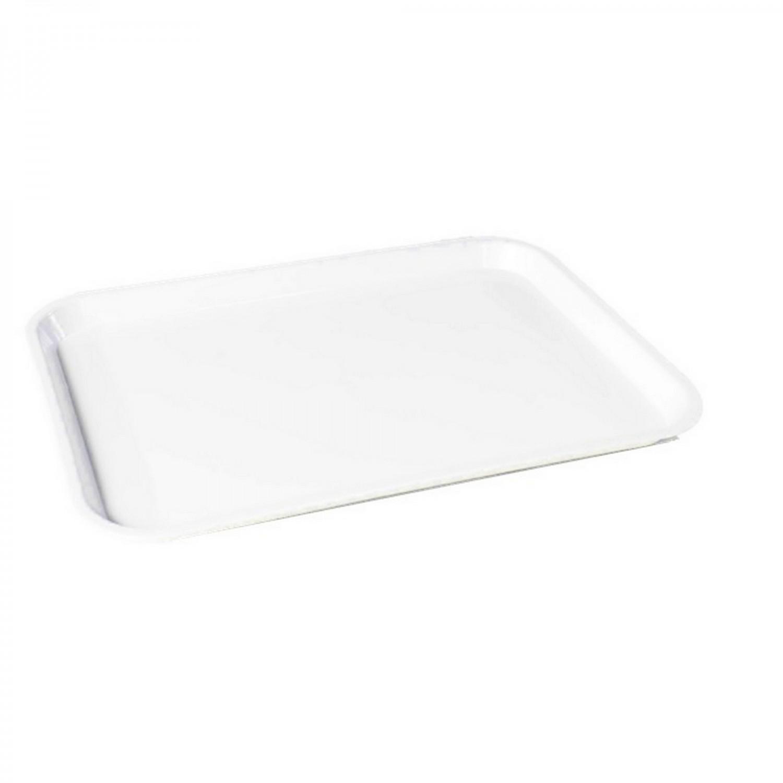 Tava dreptunghiulara, mare, pentru autoservire alimente, Plastina, alba, 37 x 51.5 x 3 cm