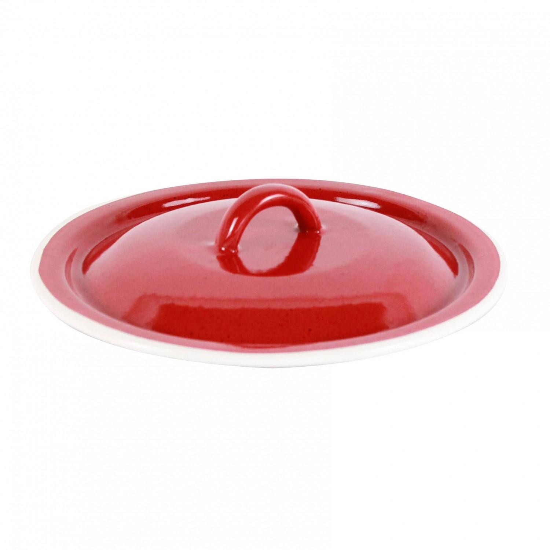 Capac rotund, bombat, din tabla emailata, rosu, 19 cm