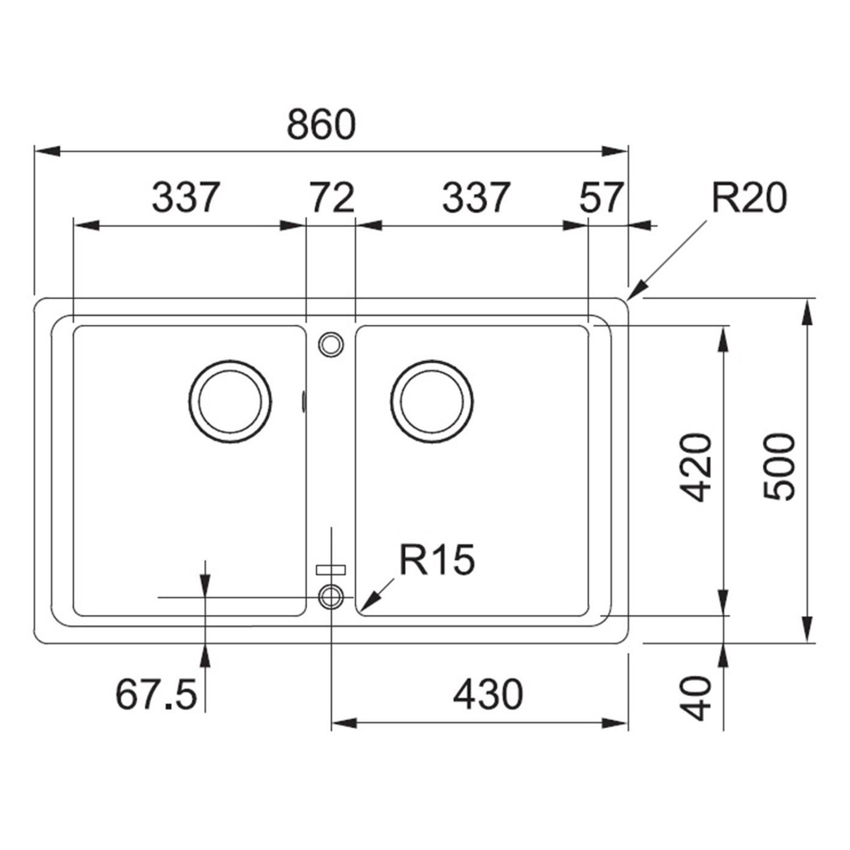 Chiuveta bucatarie compozit fragranite Franke BFG 620 avena bej cuva dubla 86 x 50 cm + baterie Novara Plus bej