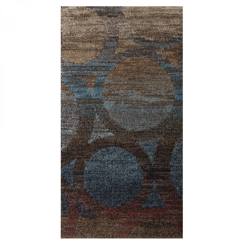 Covor living / dormitor Oriental Weavers Antigua X 5998/DG1 polipropilena frize dreptunghiular maro + albastru 60 x 110 cm