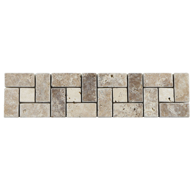 Bordura Mesta Mozaic Travertin Tumbled crem maro 7.5 x 30.5 cm
