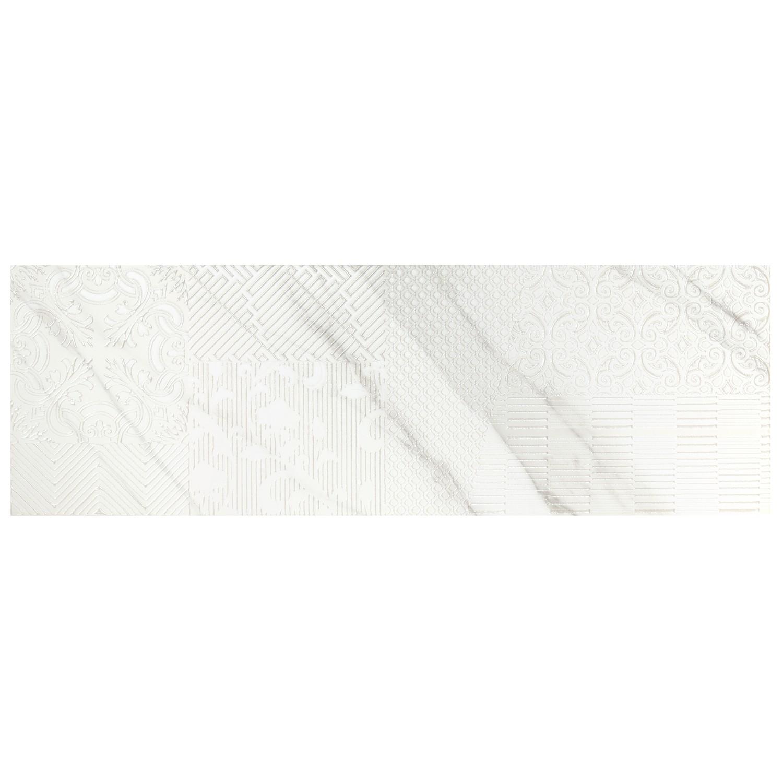 Decor faianta baie / bucatarie Atlas B alb, lucios, 28.5 x 85.5 cm