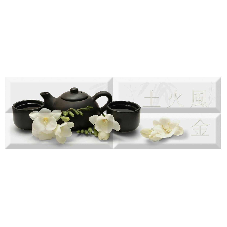 Decor faianta bucatarie Japan Tea 04 White lucios alb 20 x 60 cm