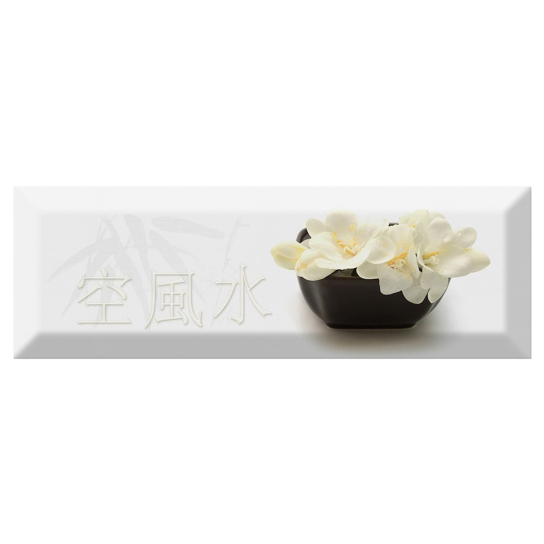 Decor faianta bucatarie Japan Tea 04 (A) White lucios alb 10 x30 cm