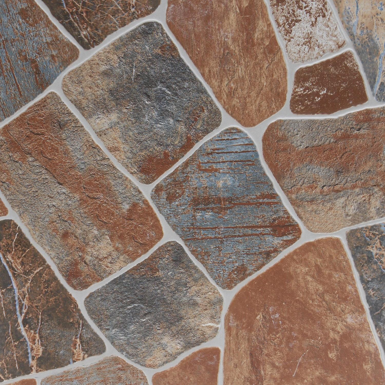 Gresie exterior / interior portelanata antiderapanta Stone Natural mata maro, imitatie piatra, 33 x 33 cm