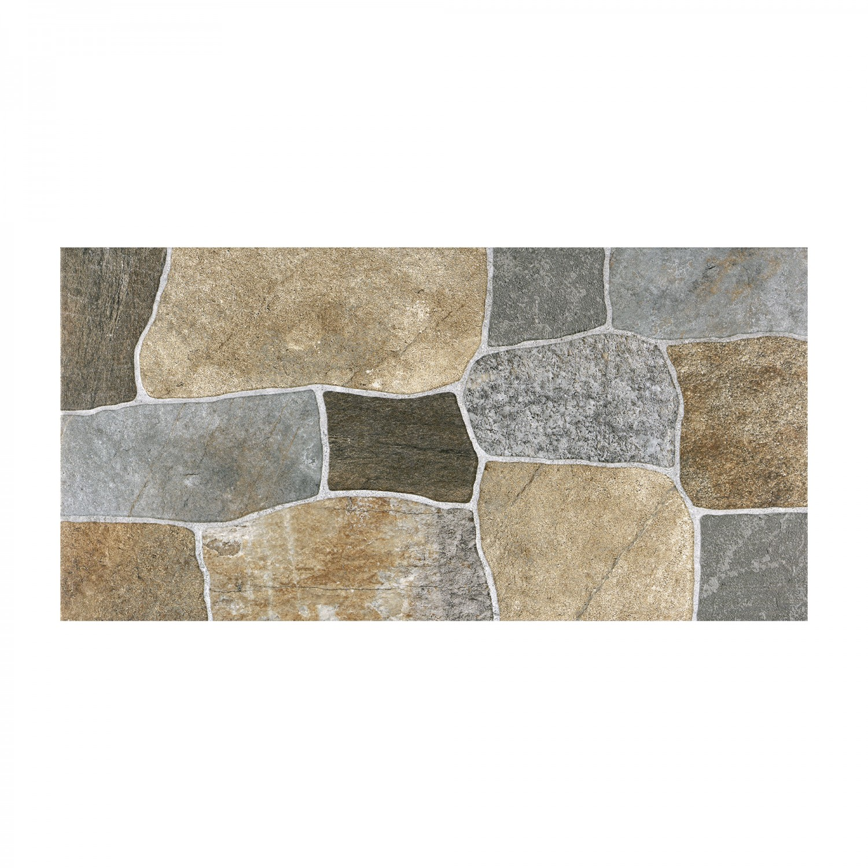 Gresie exterior / interior portelanata Cesarom, 6060-0253 Caucaso Stones, mata, multicolor, 30 x 60 cm