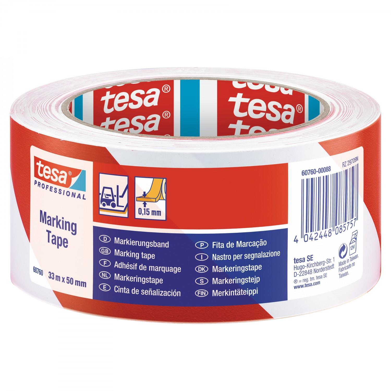 Banda marcare Tesa 60760, alb / rosu, interior / exterior, 50 mm