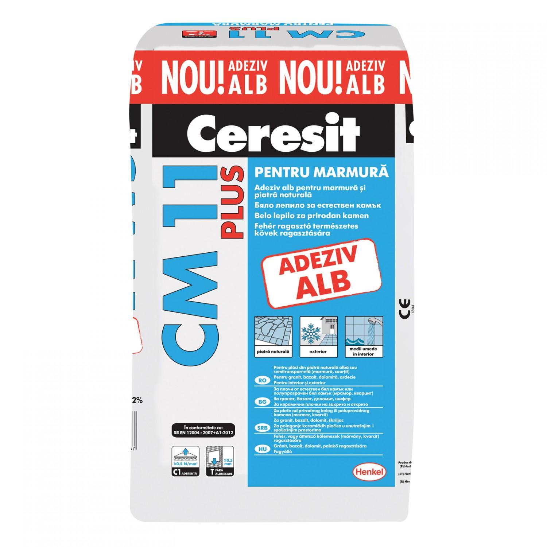 Adeziv Ceresit CM 11 Plus alb pentru montare marmura si piatra naturala la interior si exterior 25 kg