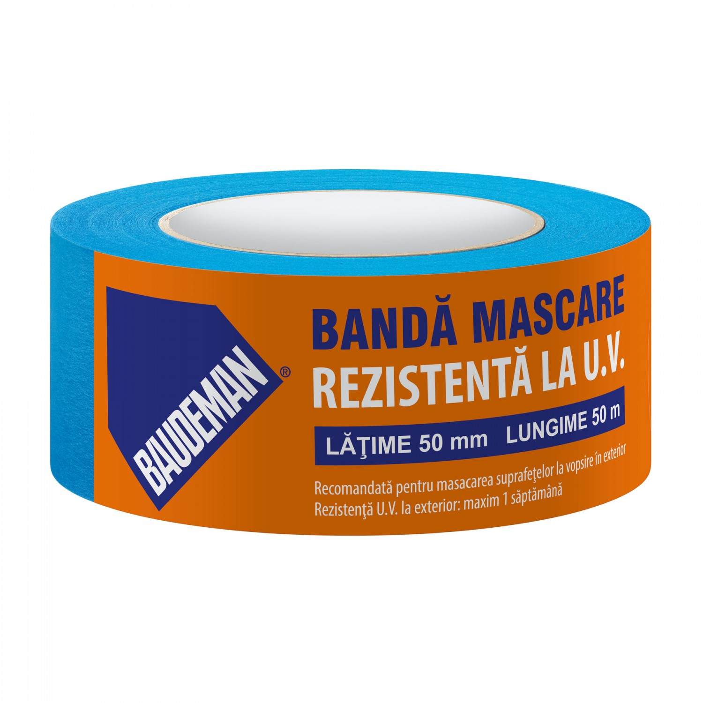 Banda mascare, rezistenta la UV, Baudeman, interior / exterior, albastra, 50 mm