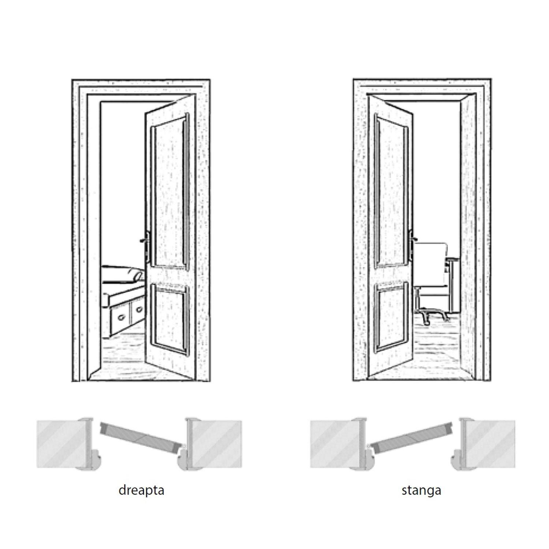 Usa interior celulara cu geam, Eco Euro Doors R80 Elena, stanga, gol II, gri cu fibra, 202 x 86 x 4 cm cu toc rotunjit