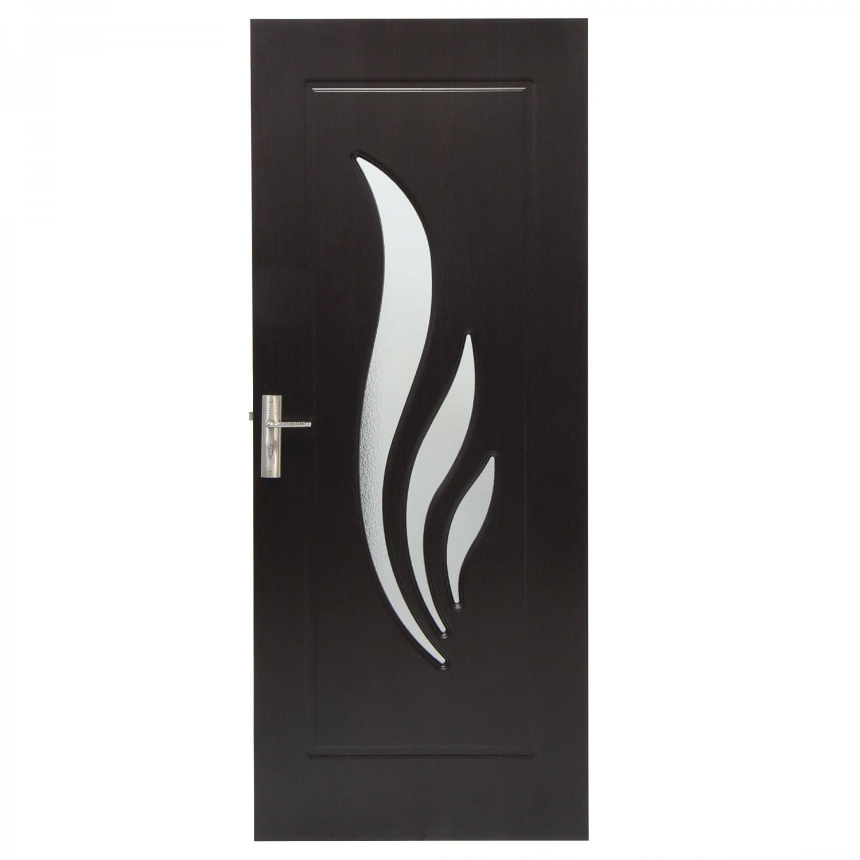 Usa de interior din lemn cu geam Super Door F03-88-T stanga / dreapta wenge 203 x 88 cm