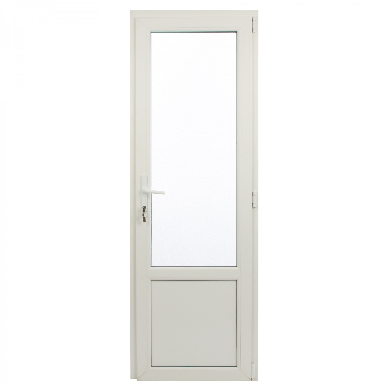 Usa exterior din PVC cu geam termopan 2/3, Far Est Weiss tip 2, 3 camere, prag aluminiu, dreapta, alb, 77 x 202 cm