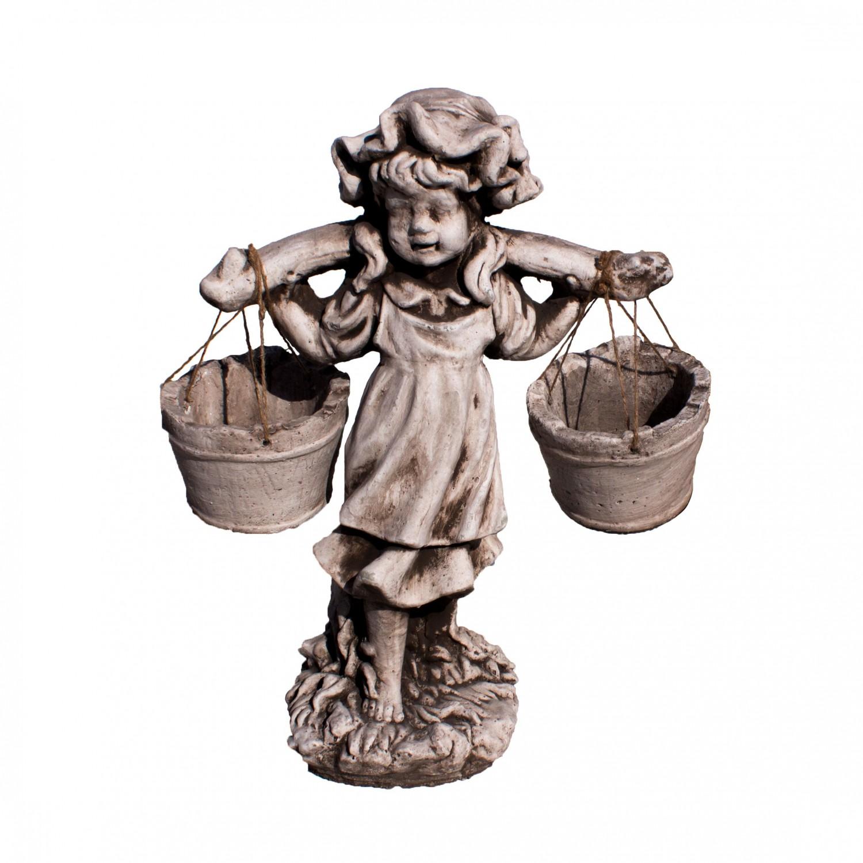 Statuie Fetita cu galeti, decoratiune gradina, beton, H 61 cm