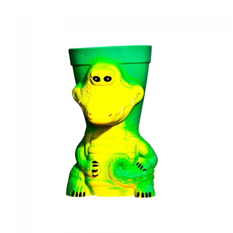 Ghiveci ceramic Crocodil, verde, rotund, 19 x 34 cm