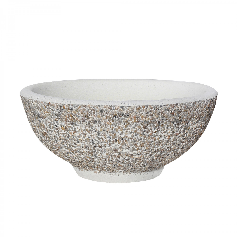 Ghiveci din beton VG102, cupa simpla, alb, rotund, 50 x 17 cm