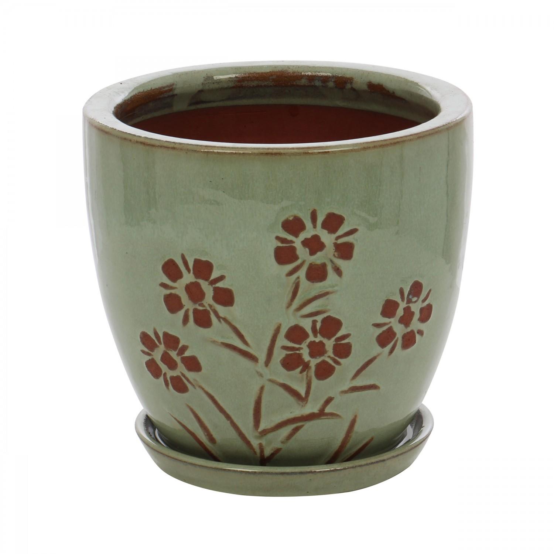 Ghiveci ceramic 22376, rotund, 22 x 20 cm