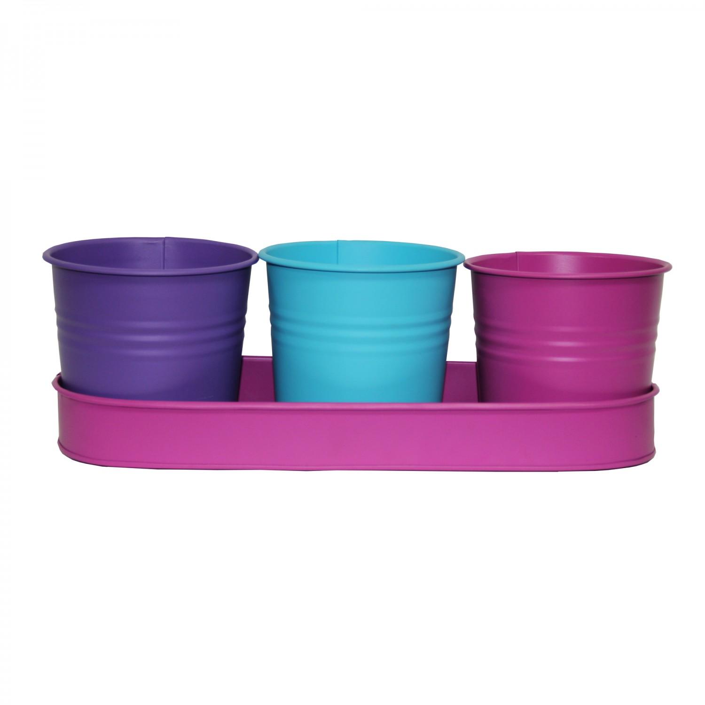 Set 3 vase din metal pentru plante DHH001