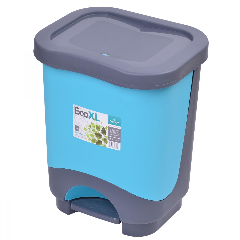 Cos gunoi Agora Plast Eko din plastic, forma dreptunghiulara, diverse culori, cu pedala si capac batant, 24L