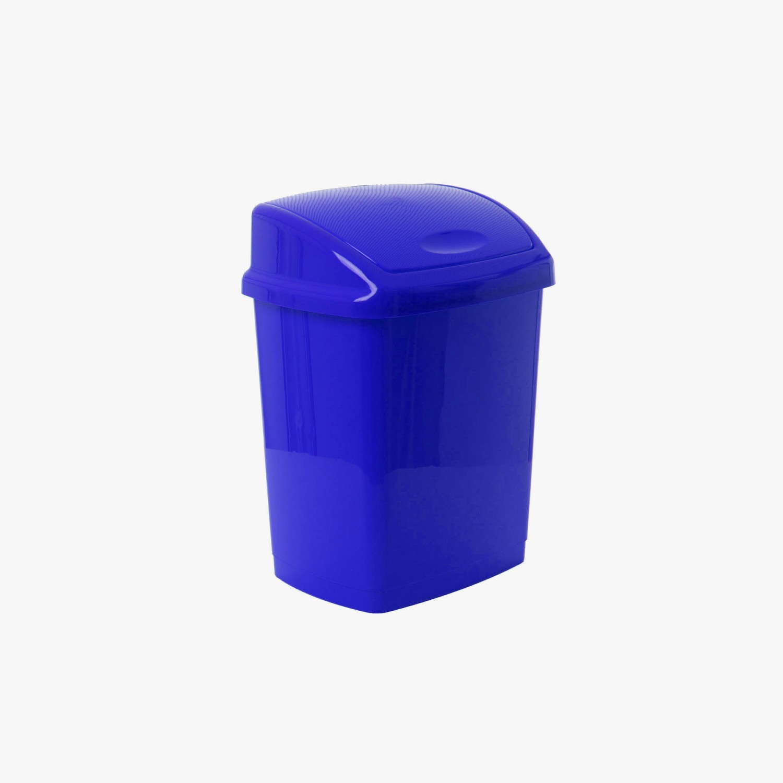 Cos gunoi Agora Plast din plastic, forma dreptunghiulara, albastru, cu capac batant, 27L