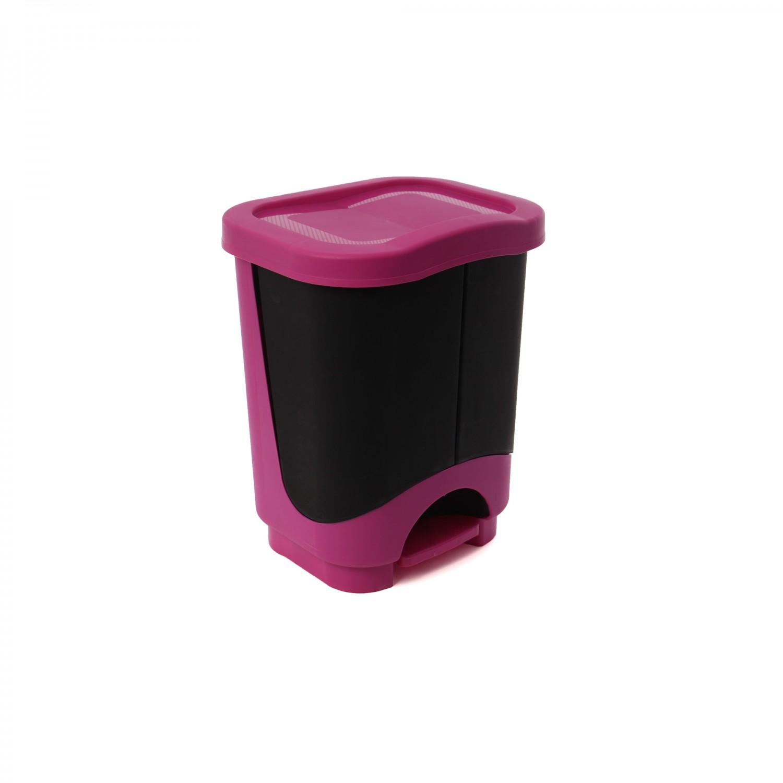 Cos gunoi cu 2 compartimente Agora Plast din plastic, forma dreptunghiulara, negru, cu pedala si capac batant, 2 x 10.5L