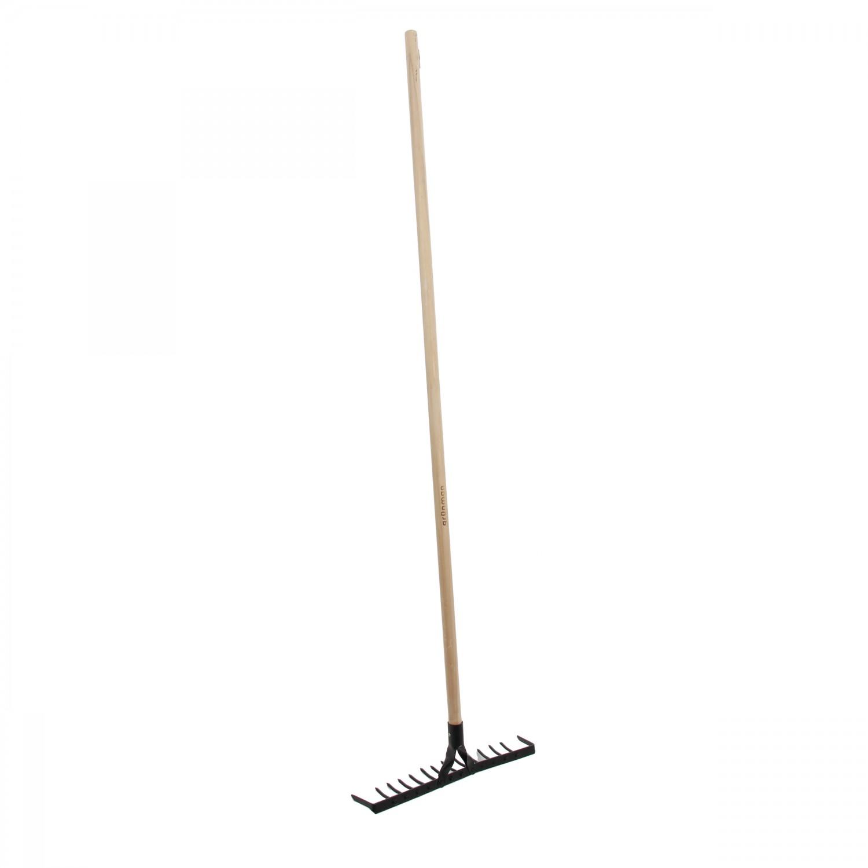 Grebla pentru sol, Grunman R103L, otel, cu coada din lemn, 14 dinti, 130 cm