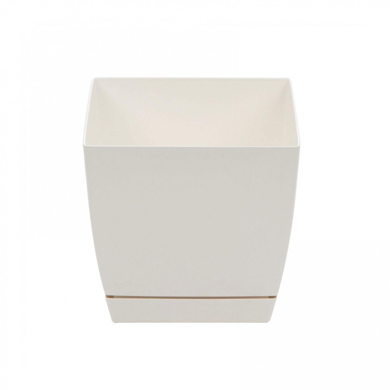 Ghiveci din plastic Coubi, patrat, alb 18 x 18 x 16.5 cm