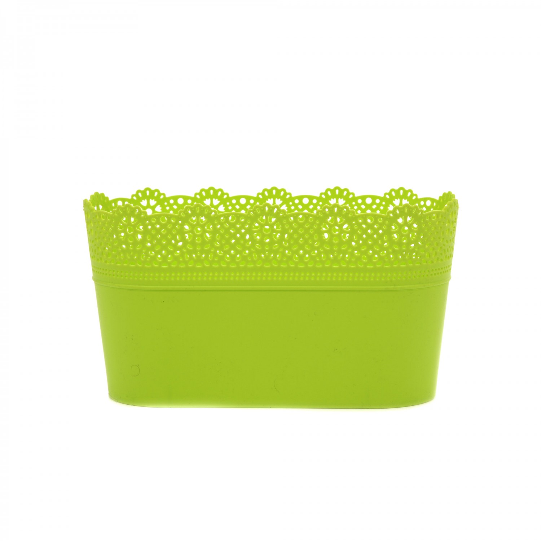 Ghiveci din plastic Lace, lime D 28.5 cm