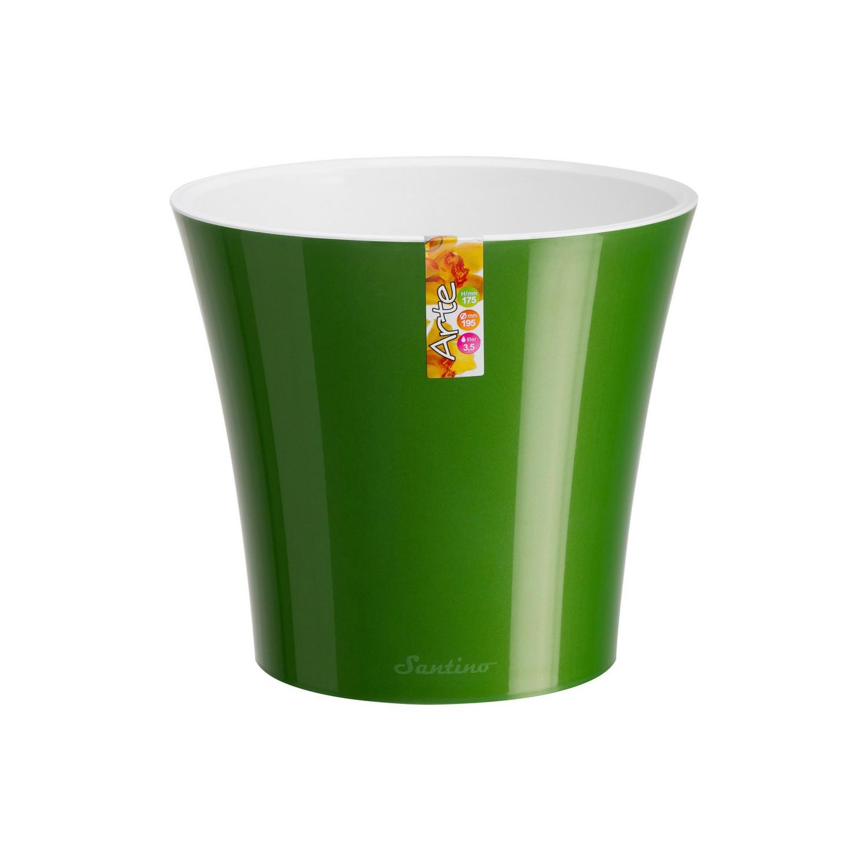 Ghiveci din plastic Arte, verde-alb D 16.5 cm