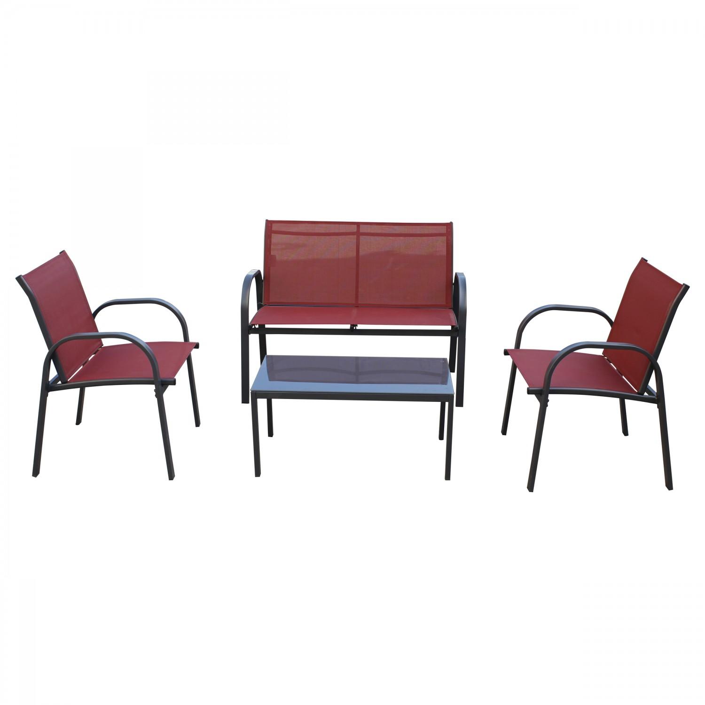 Set masa cu 2 scaune + 1 canapea pentru gradina, Siena CTA0014, din metal cu textilen