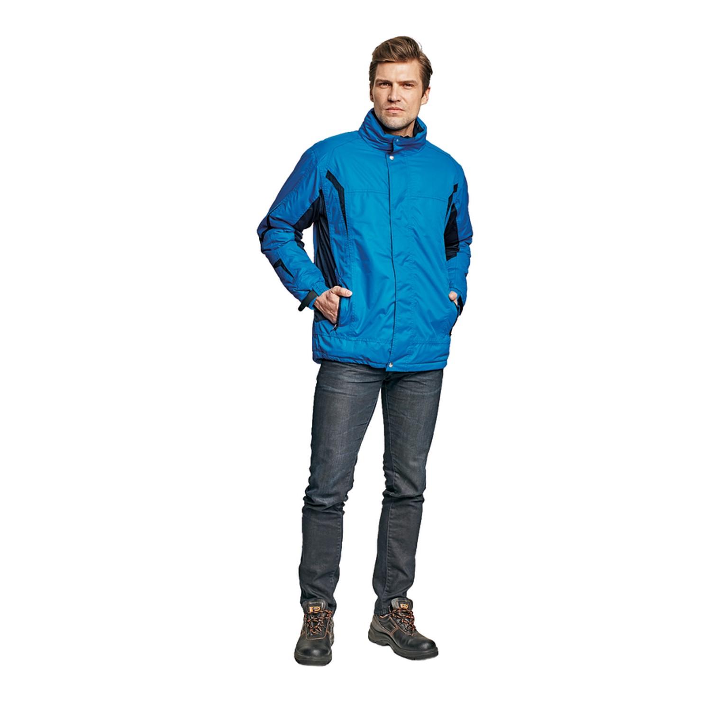 Jacheta de iarna Dalgeco Salcha, poliester, albastra, cu gluga, marimea M