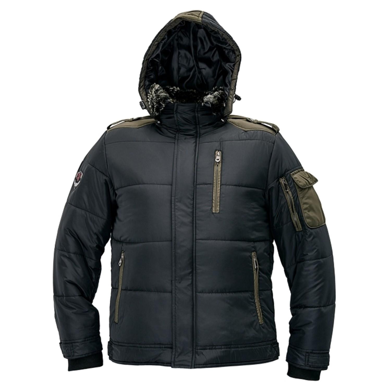 Jacheta de iarna Dalgeco Victor, poliester, neagra, cu gluga si guler, marimea L