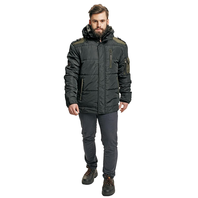 Jacheta de iarna Dalgeco Victor, poliester, neagra, cu gluga si guler, marimea XL