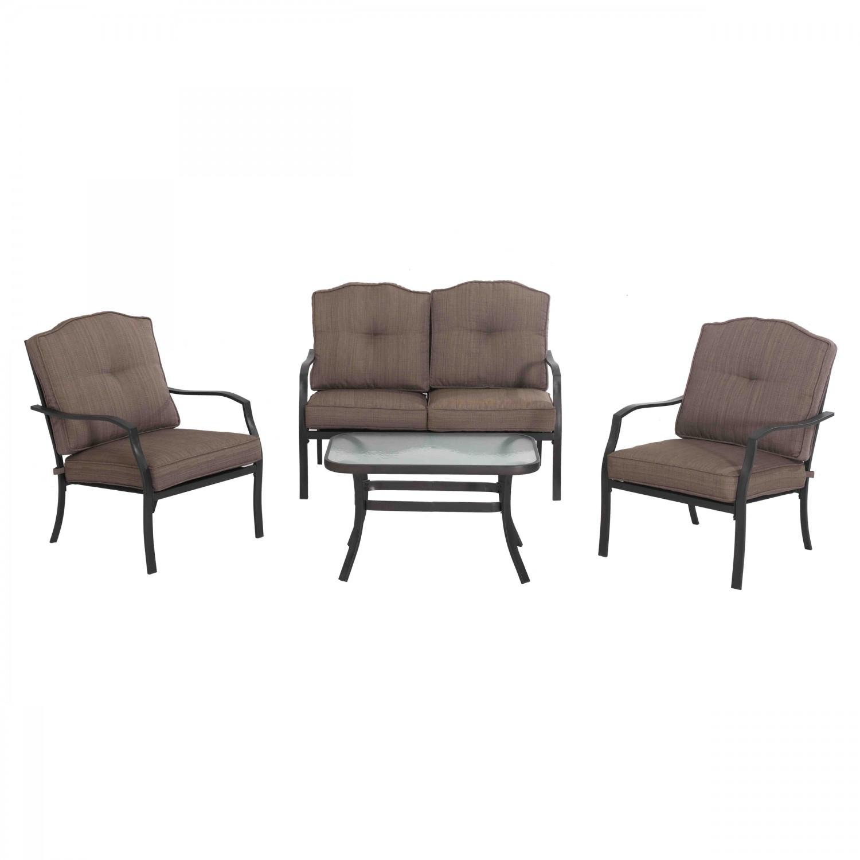 Set masa cu 2 scaune + 1 canapea cu perne, pentru gradina Kentucky S-DN1797SST, din metal cu textil