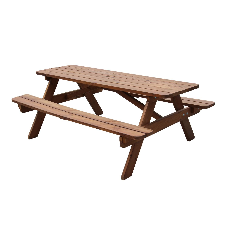 Set masa cu 2 banci, din lemn, pentru gradina, Fort Picnic, finisaj nuc
