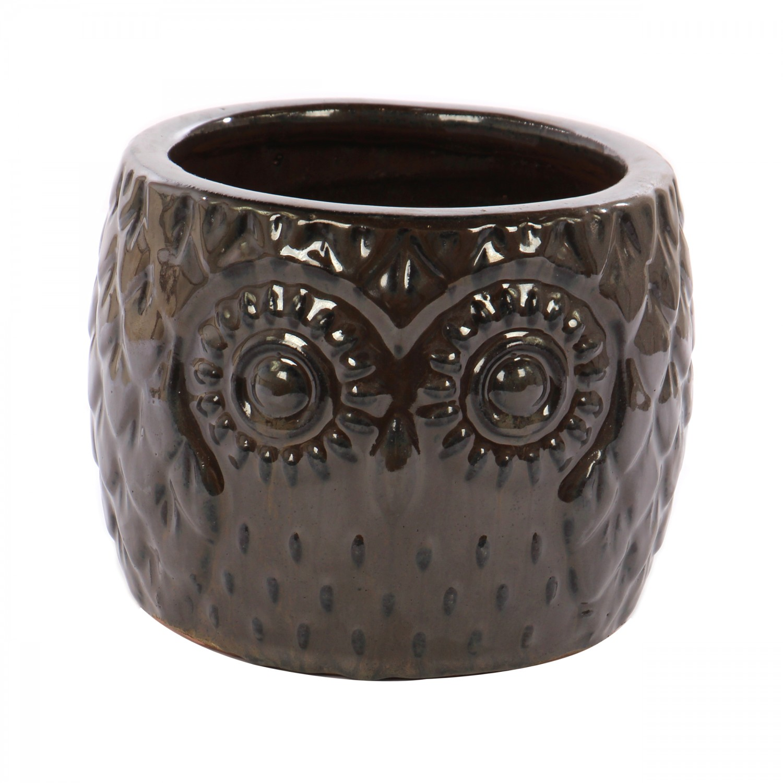 Ghiveci ceramic, maro, 27 x 20 cm