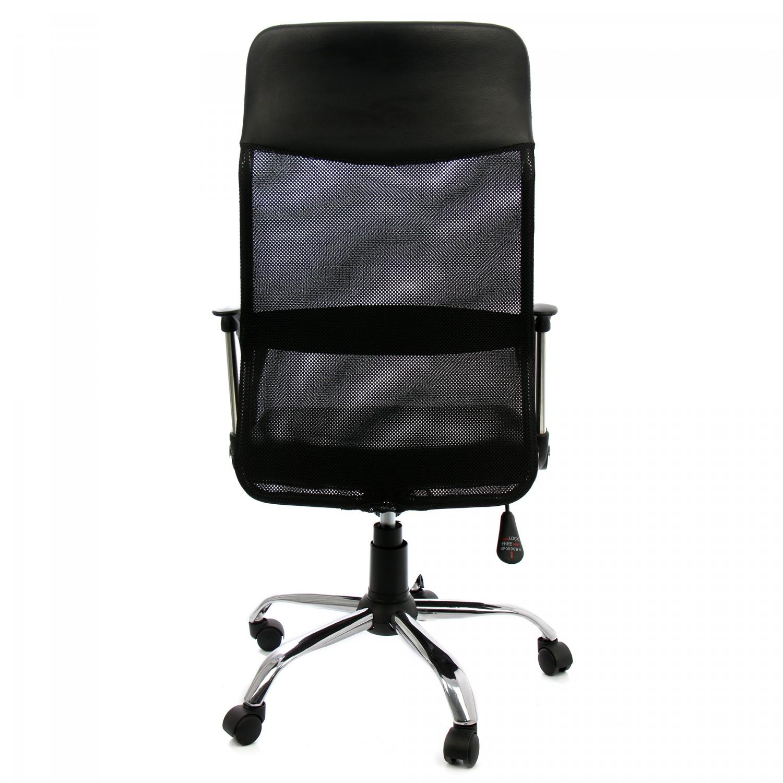 Scaun directorial Ares imitatie de piele + mesh negru