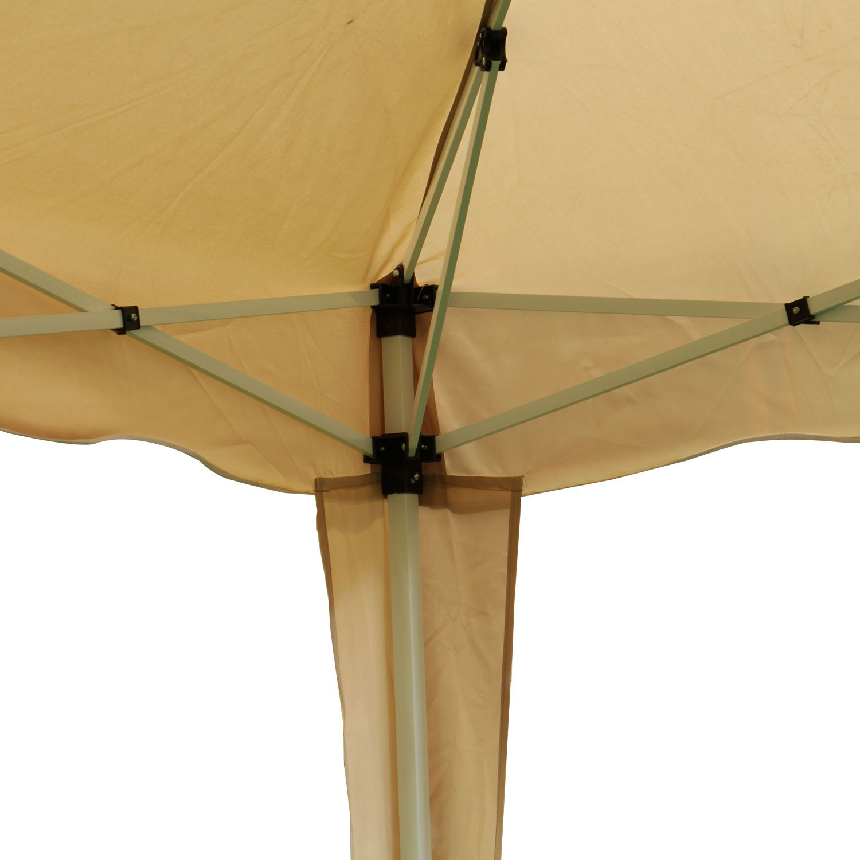 Pavilion gradina, pliabil, patrat cadru metalic + poliester crem 3 x 3 m