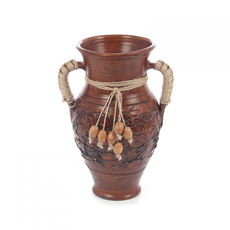 Vaza ceramica decorativa, maro, cu doua manere, model in relief, 25 x 11 cm