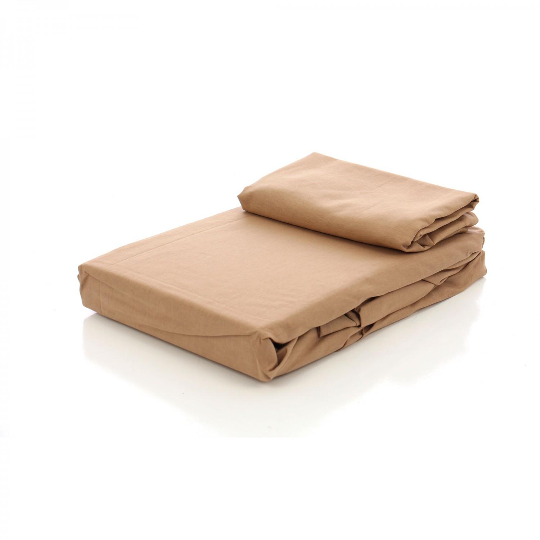 Husa (saltea/pat) cu elastic, maro, bumbac 100%, 160x200 cm + 2 fete perna 50x70 cm