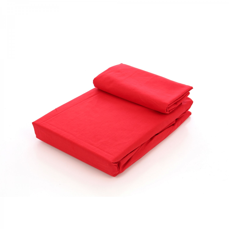 Husa (saltea/pat) cu elastic, rosu, bumbac 100%, 160x200 cm + 2 fete perna 50x70 cm