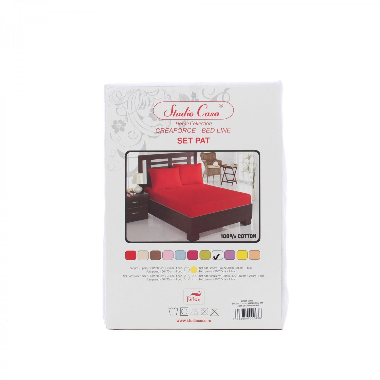 Husa (saltea/pat) cu elastic, alb, bumbac 100%, 160x200 cm + 2 fete perna 50x70 cm
