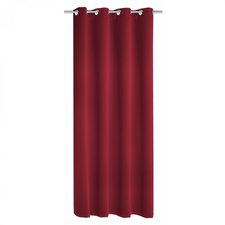 Draperie Mia, cu inele, din poliester, rosu, h 245 cm, l 140 cm