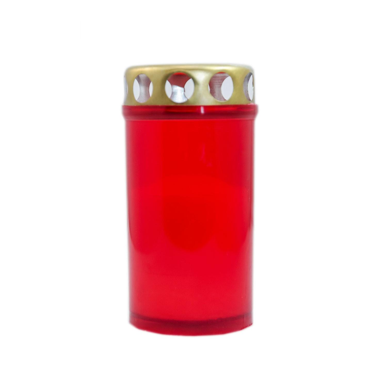 Candela decorativa M4ECO, plastic + capac metal, h 12 cm, timp ardere 25 ore, rosie