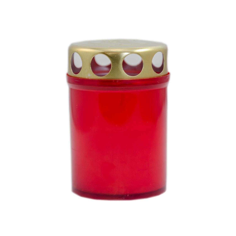 Candela decorativa M5ECO, plastic + capac metal, h 8.5 cm, timp ardere 20 ore, rosie