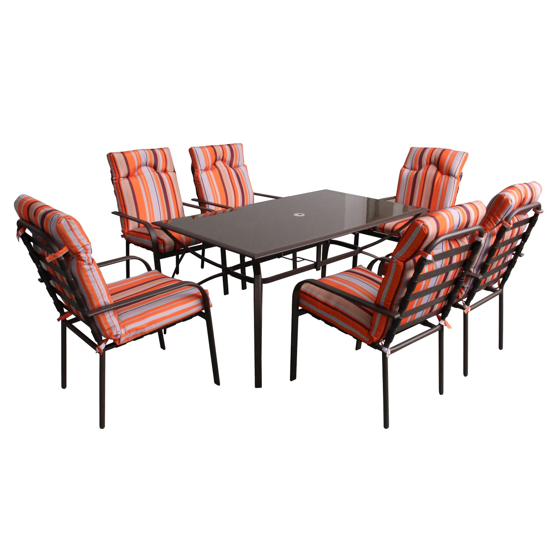 Set masa cu 6 scaune cu perne pentru gradina Doha din metal