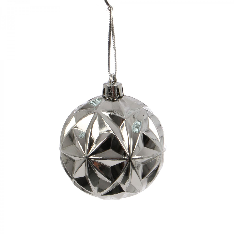 Globuri Craciun, argintii, diametru 6 cm, set 24 bucati, SD15-6047