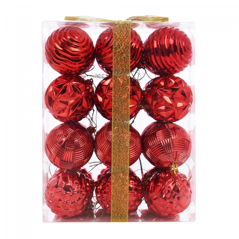Globuri Craciun, rosii, diametru 6 cm, set 24 bucati, SD15-6048