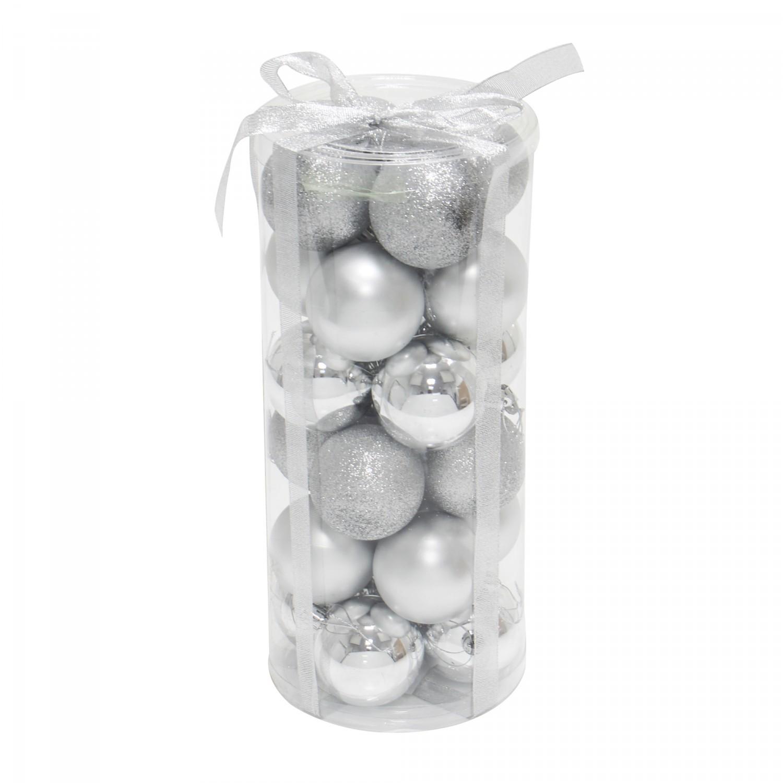 Globuri Craciun, argintii, D 6 cm, set 24 bucati, SD16-2A