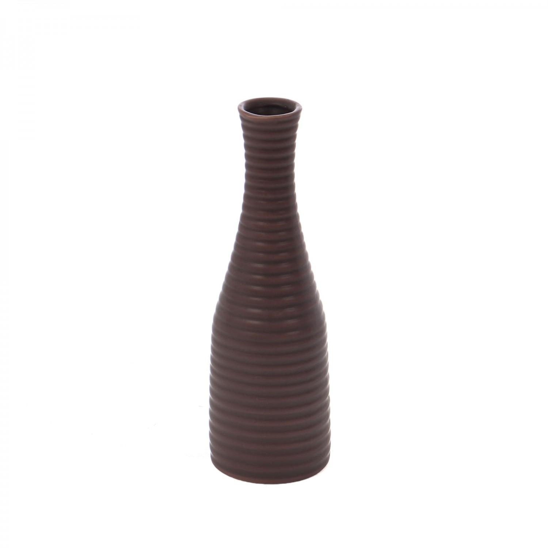 Vaza dolomita decorativa, 0588, maro, model in relief, 25.5 x 8.5 cm