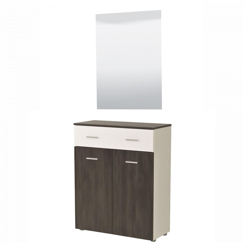 Comoda Felix V 2K1F cu oglinda si sertar, lemn negru + alb lucios 80 x 195 x 35 cm 2C